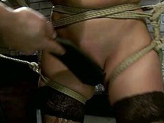 Hawt Asian girl moans with pain while horny stud punishes her hell working pusssy. He ties her up and pokes her snatch. Watch extremely hot BDSM sex tube video for free.