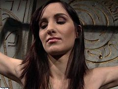 Skinny brunette chic naked Anna is going through her first BDSM sex experience ever. She gets crucified and bandaged by insatiable brunette domina in BDSM-involved sex video by 21 Sextury.