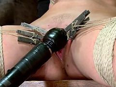We love to punish this kind of sluts! Pretty, blonde and with smoking hot thighs, Holly sits on the chair, ball gagged and with her legs spread. The executor used laundry pliers to torture her tits and pussy and putted a vibrator on her clit. She feels both pleasure and pain but will she feel a hard cock inside her?