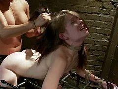 Adorable brunette Sensi Pearl is getting naughty with Isis Love in a basement. Isis binds Pearl, beats her and then smashes her delicious coochie with a strapon.