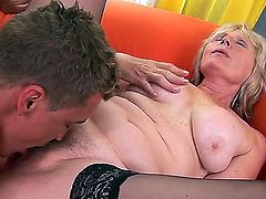 This woman understands what the real fucking is all about only in 50 year old! Pretty young stud is going to stuff sweet loving holes of the blonde granny bringing delight to her.