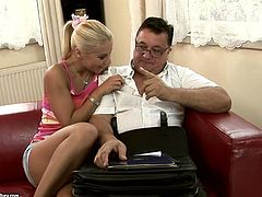 Kinky slim blond head gets rid of top and short skirt. Wondrous cum addicted chick shows her nice natural tits to spoiled gaffer. Then svelte hottie kneels down to give a solid blowjob to his old but strong dick.