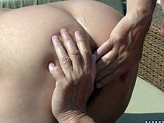 Alluring brunette mature welcomes stiff cock into her mouth for a skillful blowjob before she bends down to get her anus rimed by oversized daddy outdoors in peppering sex video by 21 Sextury.