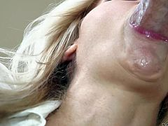 Julia Ann is a sex obsessed big titted mature beauty that licks guys balls and sucks his stiff cock like crazy before she spreads her legs wide on the edge of the sofa and takes love torpedo in her wet hole.
