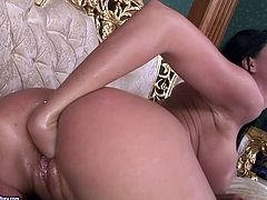 If you are big fan of lesbian love then this amazing sex video is worth your attention. Blonde sexpot with big tits rubs oil on her girlfriend's pussy to get it ready for hot fisting session.