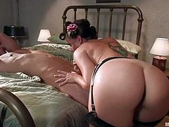Lovely Penny Flame stuffs Danny Wylde's ass with a strap-on. After that she also rides his dick and gives a blowjob.