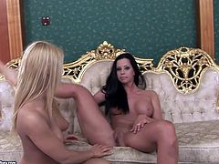 This brunette temptress is one of a kind! Her tits are worth salivating over and what a lovely face she has! Shapely nymph knows how get her girlfriend's attention. She fists her oiled snatch in front of her because she knows that kind of thing turns her on.