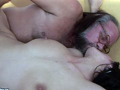 Sassy brunette girl rides hard stick of horny grandpa. Then she gets hammered deep and rough in her throbbing vagina in a missionary position.