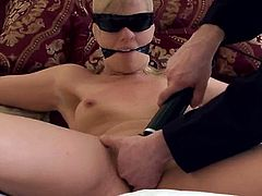 Two men take her home and fuck her hard in BDSM