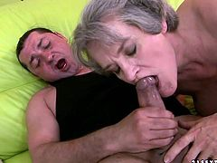 This old woman knows how to make her lover happy. She sucks his throbbing dick greedily and then she takes his juicy pecker for a ride.