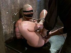 This blond babe gets treated like a slave and she stands it so good. Babe gets bondaged and staffed with a toy in her ass, being blindfolded and bondaged!