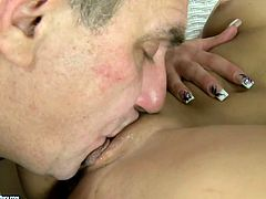 Slim and sexy chick Albertina is having affair with mature coworker