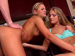 One dude is having great threesome pounding with Cayenne Klein and Vanda at once. He is stuffing always ready to suck mouths and sweet twats of divas by his massive tool.