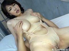 This gorgeous and horny Japanese girl is going to fall in love with this guy, as he was so careful and so sensual, staffing her twat!