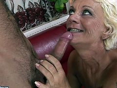 Well, this blond haired old whore is too ugly. Her tits are saggy. Her old cunt is too hairy. Her huge ass is droopy. But this tanned bitch is still a great pro in sucking a stiff hot and fresh dick for cum.