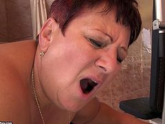 Well, this too fat and too ugly old dyke is still a great lover. Obese pale nympho with huge saggy tits and enormous butt gets her wet mature cunt fucked with a dildo by slim sexy blondie.