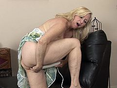 A dirty blonde whore gets naked for the camera and fucking sticks a hard toy in her pink-ass fucking snatch, check it out!