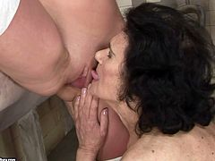 Filthy old young lesbian fuck fest in the public toilet. Voracious old granny is sitting on a toilet pan with her legs wide open. She gets her cunt polished properly.