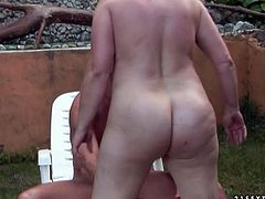 Chubby old woman loves a good, hard fuck! She bends over for doggy style pose to let her lover pummel her twat hard. Then she takes his rock hard cock for a long ride.