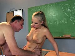Horny old teacher gets horny and desires to fuck the wet pussy of hot blond haired college gal. This svelte long legged coed girl gets banged both missionary and doggy tough right on the desk.