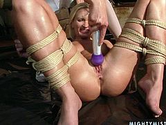 This hot mistress knows what she wants and does a fine job of getting it. She makes her slave eat her snatch. Then she drills her slave's pussy with a dildo. Make sure you don't miss this hot BDSM sex video.