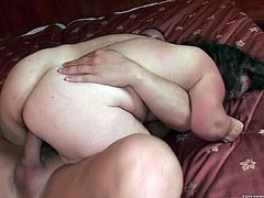 Horny fat ass granny with big saggy boobs is bending over the bed getting hammered deep in her throbbing wet vagina. After, aroused midget granny rides dick in cowgirl position.