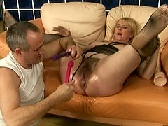 Lustful blonde whore gets her pussy toyed hard like never before