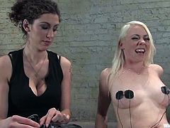 A brunette dominatrix features this lesbian BDSM femdom video with torture, bondage and electrical devices where she dominates Lorelei Lee.