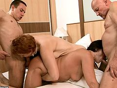 Two ample old matures enjoy fucking with horny daddies in group sex video. They give them blowjob and rimjob before they fuck them in a myriad of styles.