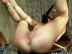 This dude knows how to punish this slut for her bad behaviour. He binds her in rope to ensure she can't wiggle her hands and legs free. Then he puts his rock hard cock deep into her sweet pussy pumping it hard until she cums. This wild BDSM sex video will get your dick hard in a blink.