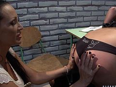 Pitiless brunette domina finds her next victim among her students. She forces a sizzling blondie bend over a table right in the auditorium to take a thorough look on her naked booty.