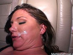 Curvy brunette prostitute in raunchy outfit and fishnet stockings get fucked in missionary style on the backseat of a car before a rapacious daddy cumshots on her cute face.