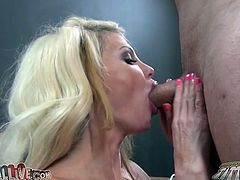 Her cunt is licked and that nasty horny blonde MILF is ready fro blowjob after that, she is going to be fucked very hard after that.
