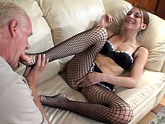 Jordan Minor the slim girl in a bra and fishnet stockings. She gets her feet licked and pussy fondled. Later on she gives hot blowjob & footjob combo.