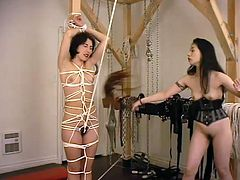 Nasty Japanese girl ties Viva up and whips her ass. Submissive Viva enjoys the every second of this humiliation.