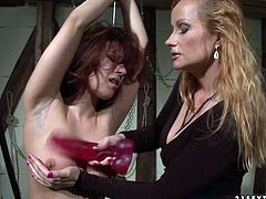 Incredibly horny mistress dominates her sex slave viciously in her dungeon, drilling her mouth with dildo. Check out this hot BDSM sex scene now and I'm kinda sure you will enjoy watching it.