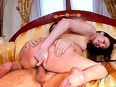 Hot and horny Samantha Ryan is one sexy MILF, as Dane cross finds out as she sucks on his huge dick. Hardcore action as this beautiful brunette shows this younger man, that an older experienced woman can still teach him a thing or two.