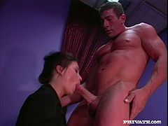 Slutty brown-haired milf Katja Kassin gives a blowjob to her man and lets him eat her pussy. Then the dude slides his schlong into Katja's ass and fucks the hussy in the reverse cowgirl and other positions.