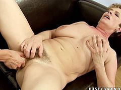 Kinky short haired housewife never minds getting her wet pussy tickled and teased by young brunette neighbor. Slim cutie with sweet tits pleases this mature cunt on the couch causing the loud moans.