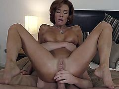 Young nerdy looking dude Dane Cross with glasses gets seduced by tanned lusty mature milf Veronica Avluv with huge firm tits and round bouncing ass and fucks her like pro.