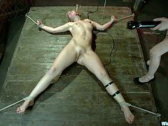 Stunning blonde girl gets undressed and tied up by her adorable brunette mistress. Later on Tara gets her ass and pussy drilled with an electric dildo.
