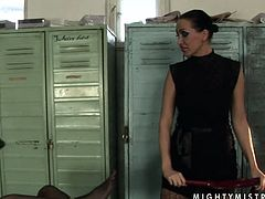 Lusty red haired wench with chubby body is tied up to the bench in the locker room. The mighty mistress tortures her privates with special BDSM equipment bringing her pain and pleasure at a time. Kinky porn video presented by 21 Sextury.