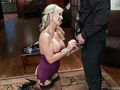 blonde milf is whipped and has to suck cock