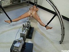 Lewd brunette Cece Stone gets shackled in a hospital ward. She spreads her legs wide open and gets her cunt smashed by a fucking machine.