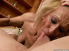 Provocative granny is fucking hardcore in filthy old young fuck scene. So she sucks big dick deepthroat demonstrating her outstanding skills. Then she gets on top of hard stick jumping actively.