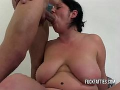 This fat chick has her nipples sucked before she sucks cock. Then, her boyfriend slams her pussy in many positions.