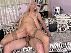 Horn made blond mom rides stiff young cock reverse cowgirl style