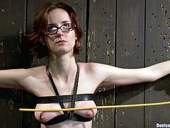 Kinky slim girl Jay Taylor lets some guy bind her in a basement and attach clothespegs to her tits. Then she sits down on a fucking machine and undergoes a few minutes of pleasure.