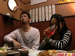 Japanese slut blows cock for dinner