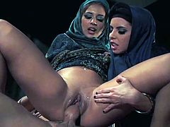 Naughty arab babes love to share cock in nasty and wild hardcore threesome